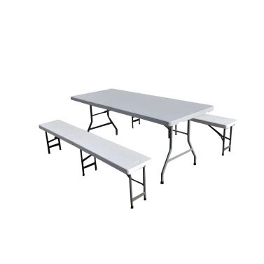 TABLE RECTANGULAIRE PVC + 2 BANCS