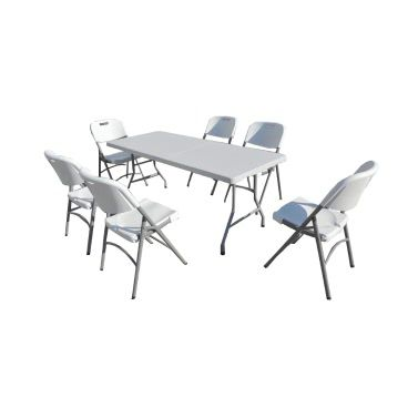 TABLE RECTANGULAIRE PVC + 6 CHAISES